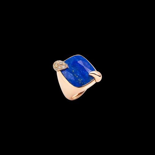 POMELLATO - ANELLO RITRATTO - Anello in oro rosa 18K con 1 lapislazzulo 16 ct e 19 diamanti brown 0,65 ct. - A.B713MBR7/L