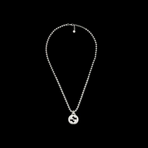 Collana Gucci Interlocking in argento con ciondolo GG - misura 55 cm - YBB47921700100U