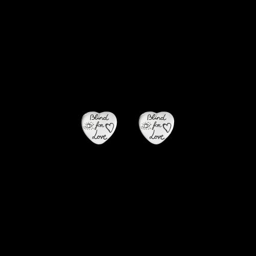 Orecchini Gucci Blind for Love in argento inciso forma cuore  - YBD45525500100U