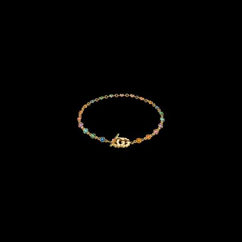 Bracciale Gucci GG Running in oro giallo con pietre di colore - YBA4816640010