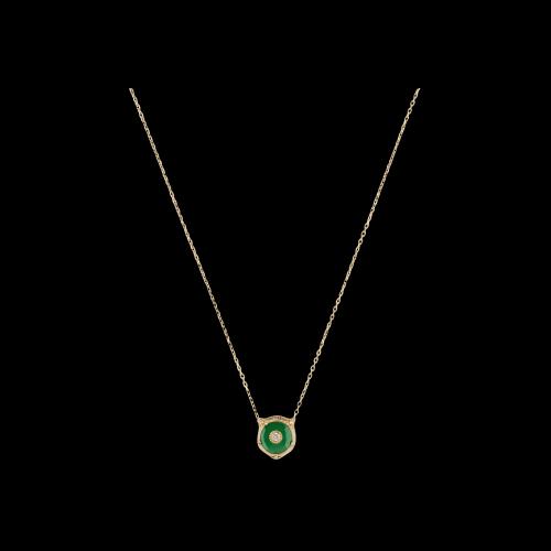 Collana Gucci Le MArche Des Merveilles in oro giallo, giada verde e diamante bianco - YBB50251000100U