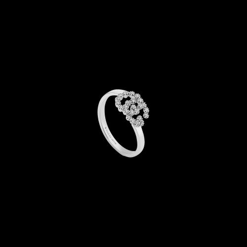 Anello Gucci GG Running in oro bianco e diamanti bianchi - YBC4816500010