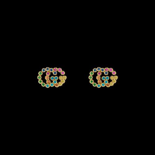 Orecchini Gucci GG Running in oro giallo e zaffiri colorati - YBD48167600200U