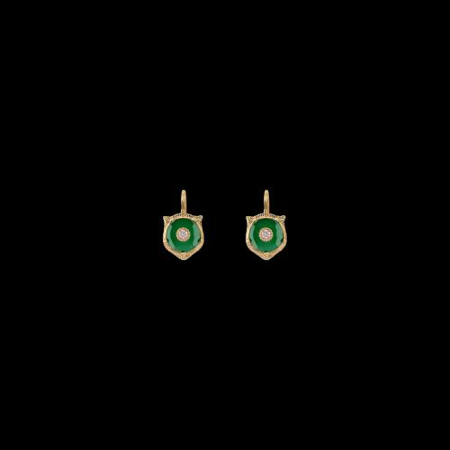 Orecchini Gucci Le Marche Des Merveilles in oro giallo , giada verde e diamanti bianchi