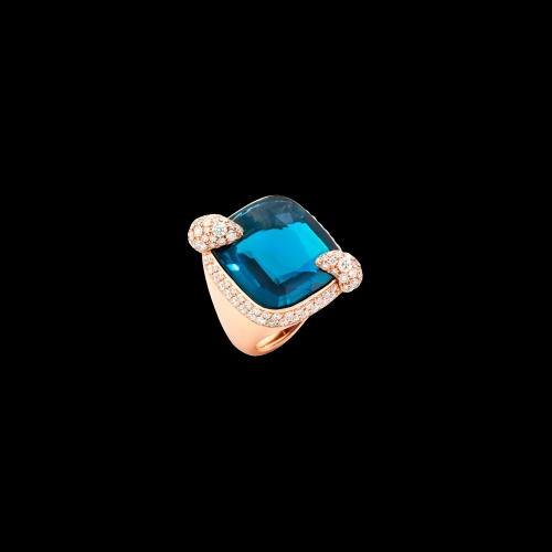 POMELLATO - ANELLO RITRATTO - Anello in oro rosa 18K con 1 topazio London blue 23 ct e 128 diamanti brown 2,15 ct. - A.B808MB7/TL