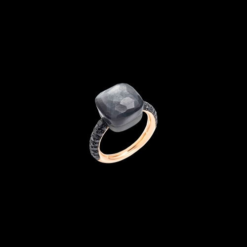 POMELLATO - NUDO - Anello in oro rosa 18K e titanio, adularia grigia 11 ct, 58 diamanti black 0.77 ct one shot - A.B401BBT7ADG