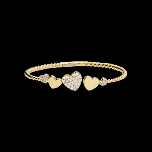 Bracciale rigido oro rosa cuori diamanti bianchi