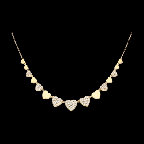 Collana oro rosa cuori a scalare diamanti bianchi