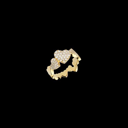 Anello oro rosa cuori diamanti bianchi