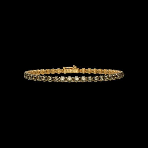 Bracciale tennis in oro rosa e diamanti brown