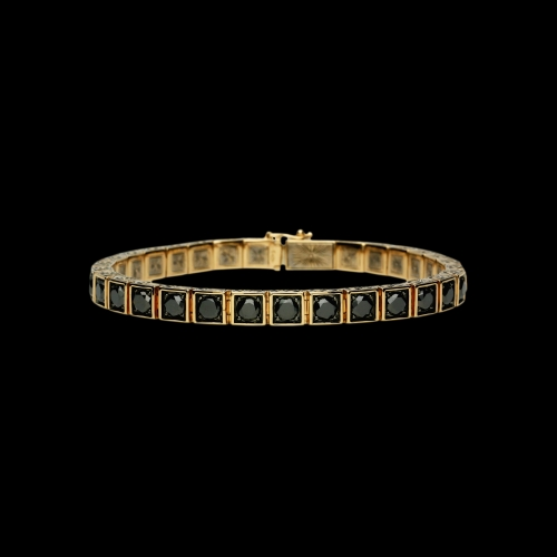 Bracciale tennis in oro rosa e diamanti neri con lavorazione a mano laterale e interna