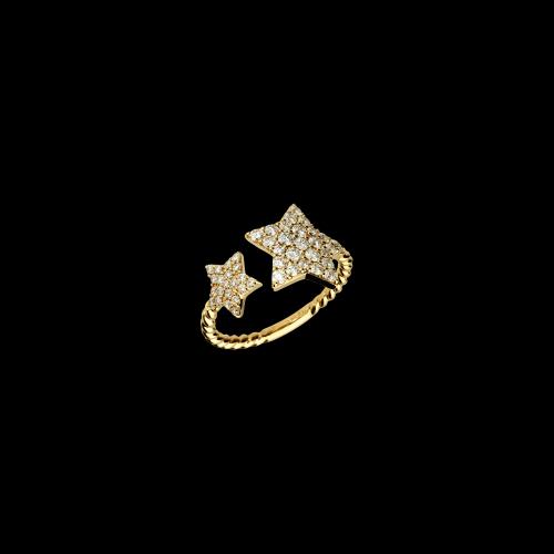 Anello Stelle in oro rosa e diamanti bianchi , gambo intrecciato