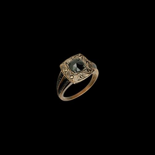 Anello in oro rosa lavorato e diamanti neri