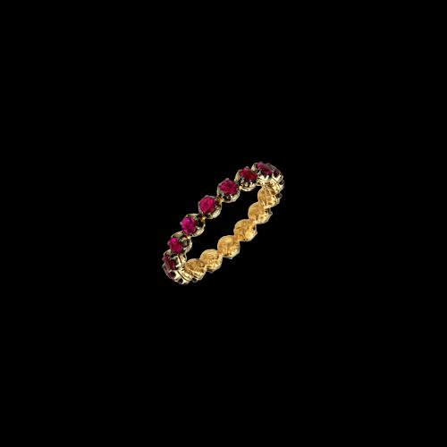 Anello veretta giro intero in oro rosa e rubini