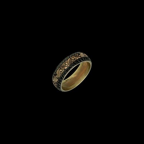 Anello fascia in oro rosa inciso a mano con diamanti neri taglio brillante