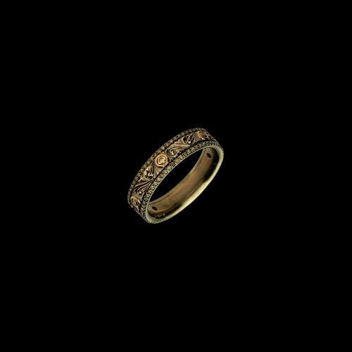 Anello in oro rosa inciso a mano e diamanti brown