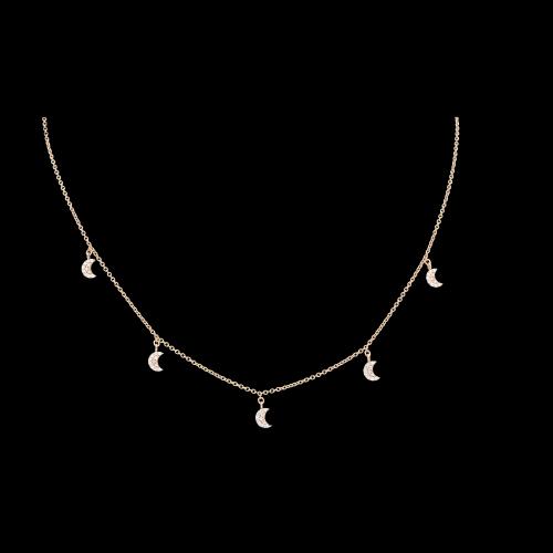 Collana Charms Lune in oro rosa e diamanti bianchi