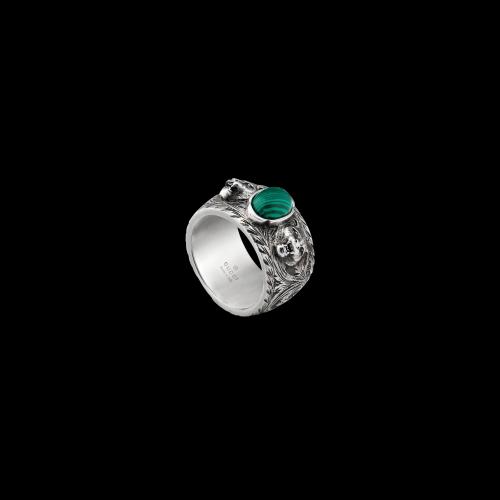 Anello Gucci Garden in argento lavorato e malachite - YBC4619910010