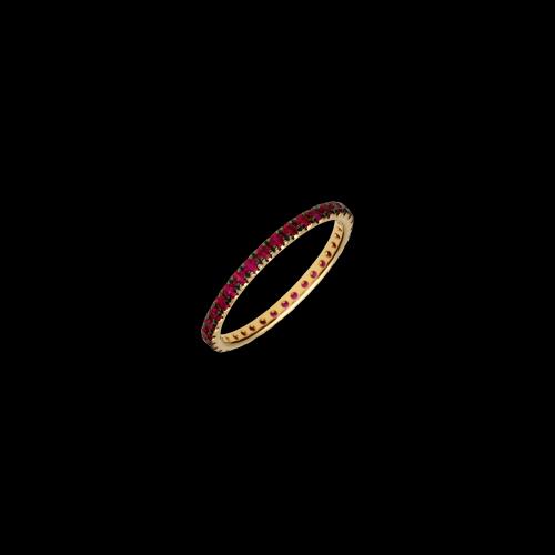 Anello Veretta giro intero in oro rosa e rubini naturali