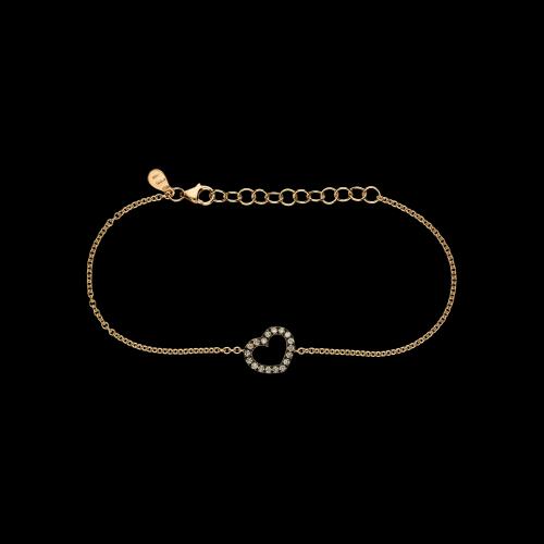 Bracciale Cuore in oro rosa e diamanti brown