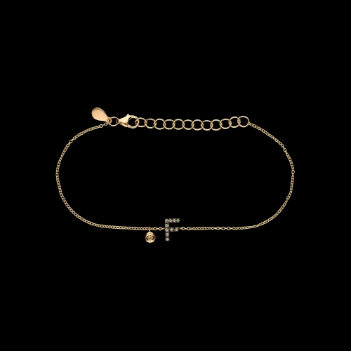 Bracciale Lettera in oro rosa e diamanti brown e diamante bianco