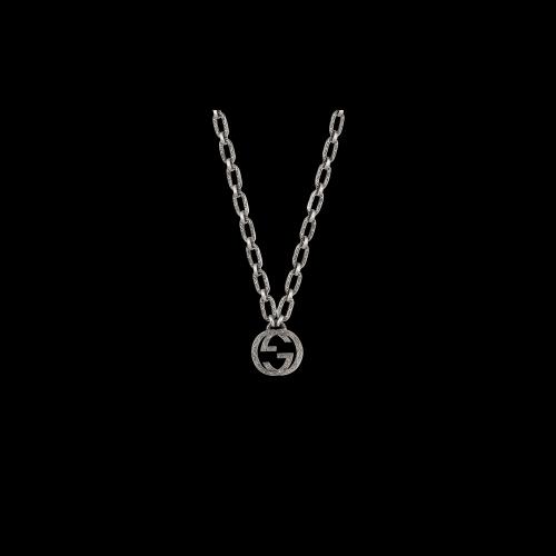 Collana Gucci Interlocking in argento con ciondolo GG - YBB52489000100U