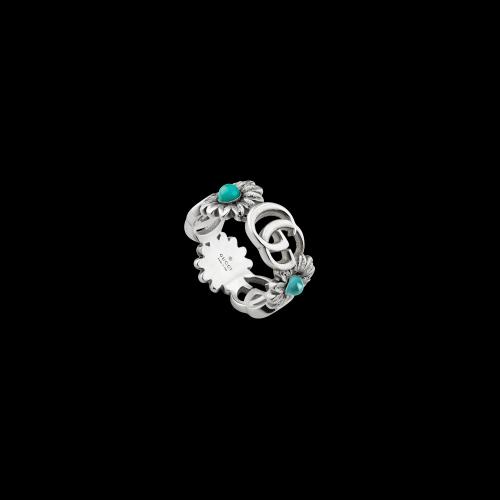 Anello GG Marmont in argento con madreperla, turchese e topazio blu - YBC5273940010