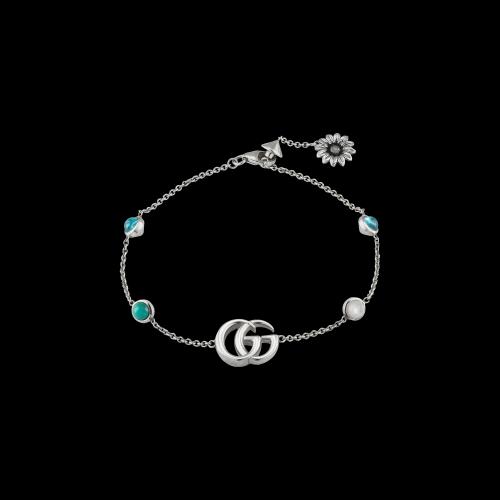 Bracciale Gucci GG Marmont in argento con topazi blu e turchese
