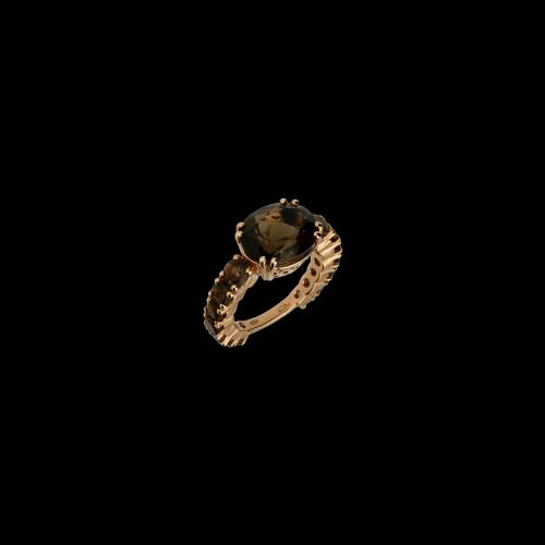 Anello in oro rosa e Quarzo Fumè - possibilità di messa a misura