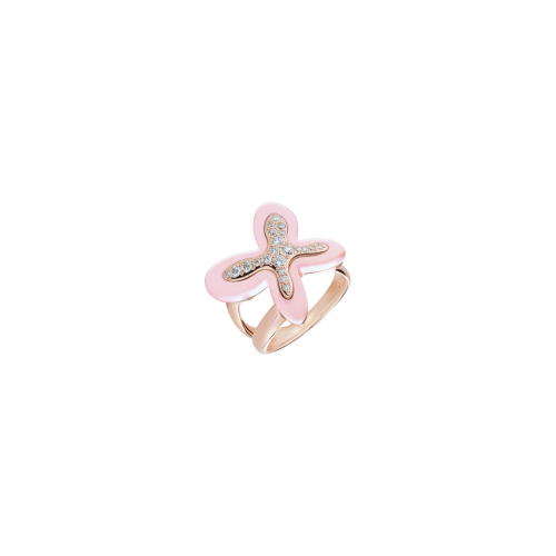 ANELLO FREEVOLA IN ORO ROSA CON DIAMANTI E CORALLO