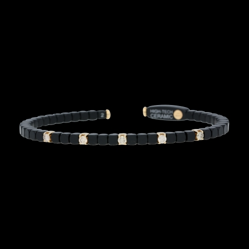 BRACCIALE DADO IN CERAMICA,  ORO ROSA E DIAMANTI BROWN