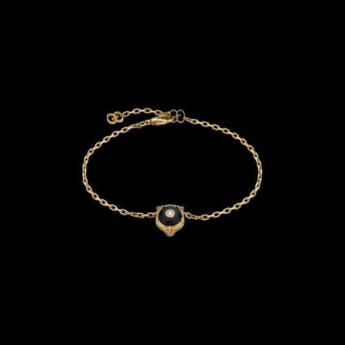 Bracciale Gucci Le Marche Des Merveilles testa di gatto in oro giallo , onice nera e diamante bianco - YBA5028520030