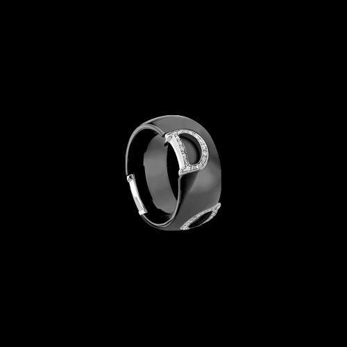 Anello Damiani D.Icon in ceramica nera e oro bianco con diamanti bianchi - 20045898