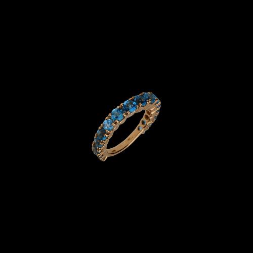 Anello Veretta giro intero in oro rosa e Topazi Azzurri
