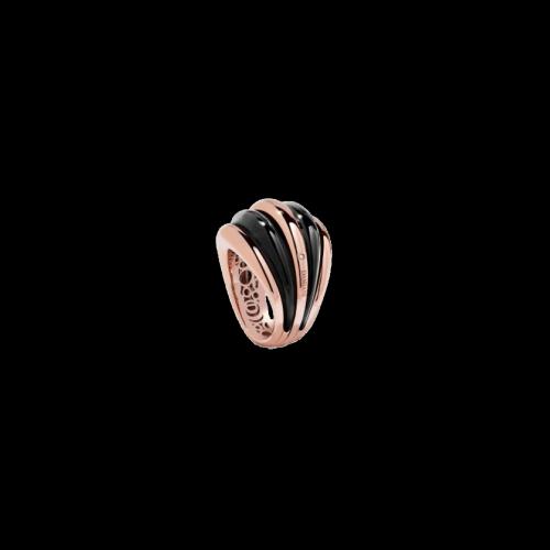 Anello Damiani Spicchi di Luna in oro rosa, onice nera e diamanti bianchi