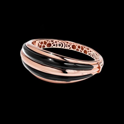 Bracciale Damiani Spicchi di Luna  rigido in oro rosa e onice nera - 20076820