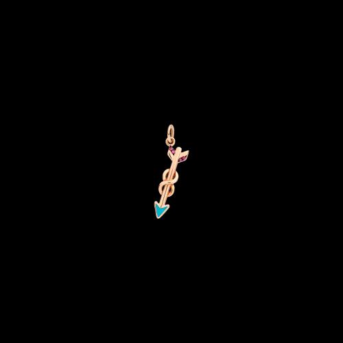 Dodo Christmas Freccia Love in oro rosa, rubini e smalto turchese - DMFR/9/RU/TU/K