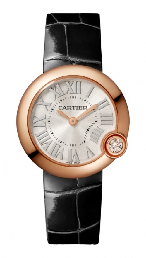 BALLON BLANC DE CARTIER 30 MM,ORO ROSA, DIAMANTE,ALLIGATORE - WGBL0003