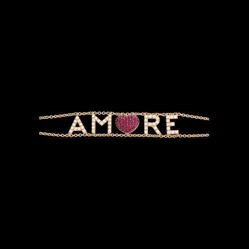 AMORE - Bracciale in oro rosa, diamanti bianchi e rubini