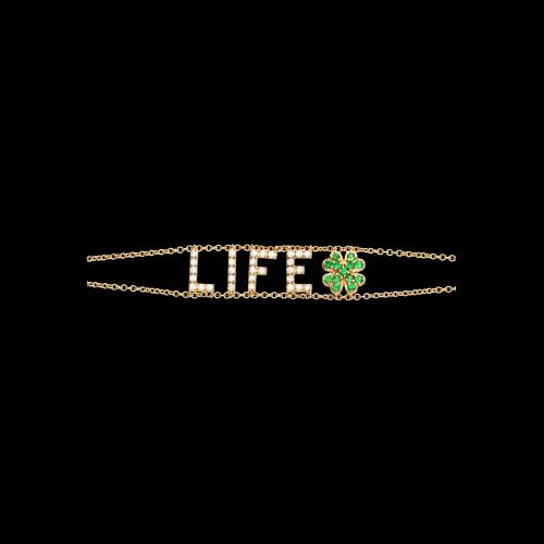 LIFE - Bracciale in oro rosa, diamanti bianchi e tsavorite