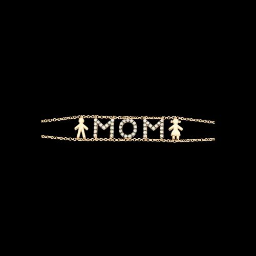 MOM - Bracciale in oro rosa e diamanti bianchi