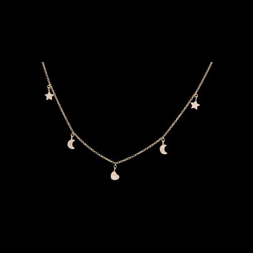 Collana Charms in oro rosa e diamanti bianchi