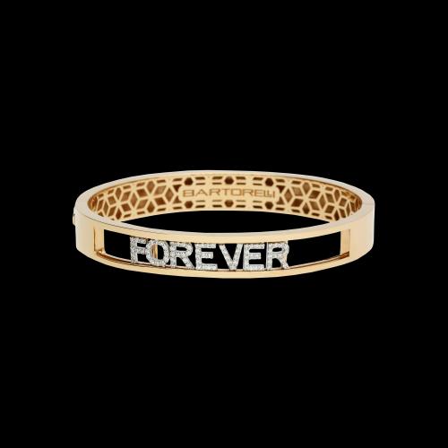 Bracciale rigido in oro rosa e lettere semovibili in oro bianco e diamanti bianchi