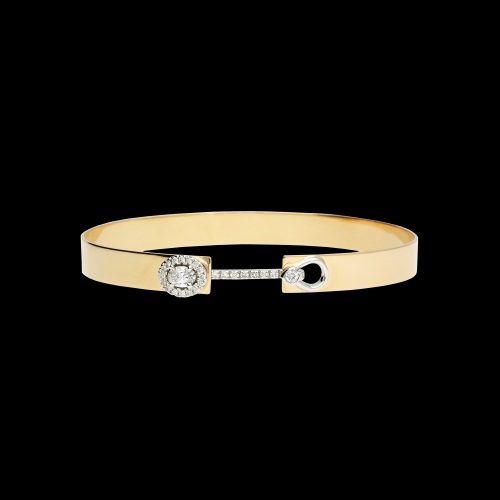 Bracciale semirigido in oro rosa, oro bianco e diamanti bianchi