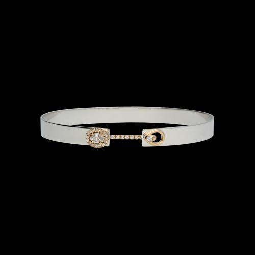 Bracciale semirigido in oro bianco, oro rosa e diamanti bianchi