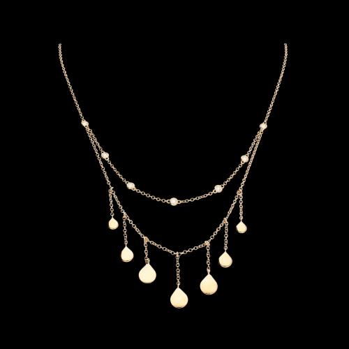 Collana lunga in oro rosa con pendenti e diamanti bianchi