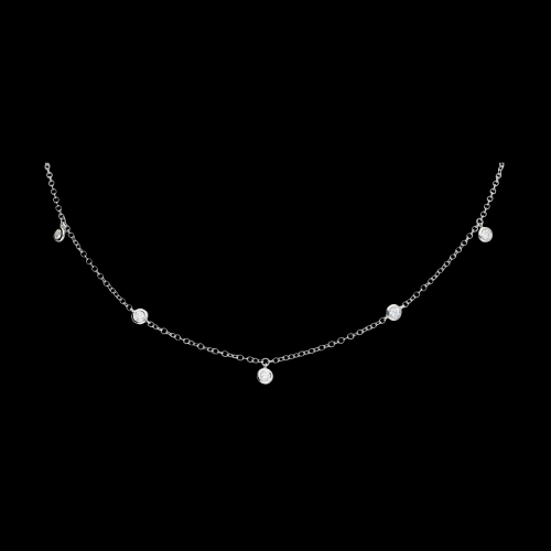 Collana girocollo in oro bianco e diamanti bianchi