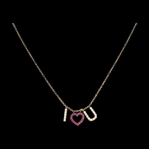 I LOVE U - Collana in oro rosa con diamanti bianchi e rubini