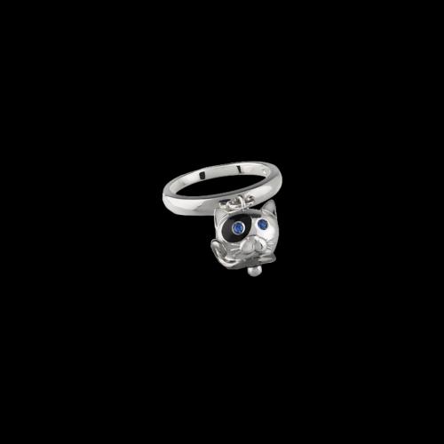 Anello Campanelle Gatto in argento, smalto nero e zaffiri blu - 38571