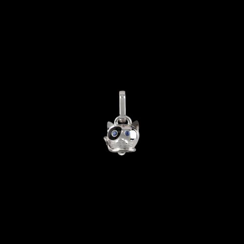 Ciondolo Gatto misura micro in argento, smalto nero e zaffiri blu - 38577